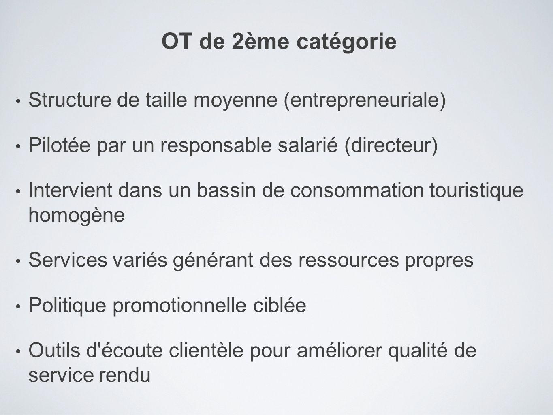 Structure de taille moyenne (entrepreneuriale) Pilotée par un responsable salarié (directeur) Intervient dans un bassin de consommation touristique ho