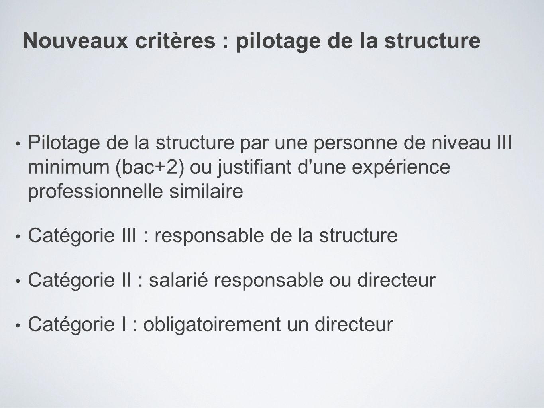 Pilotage de la structure par une personne de niveau III minimum (bac+2) ou justifiant d'une expérience professionnelle similaire Catégorie III : respo