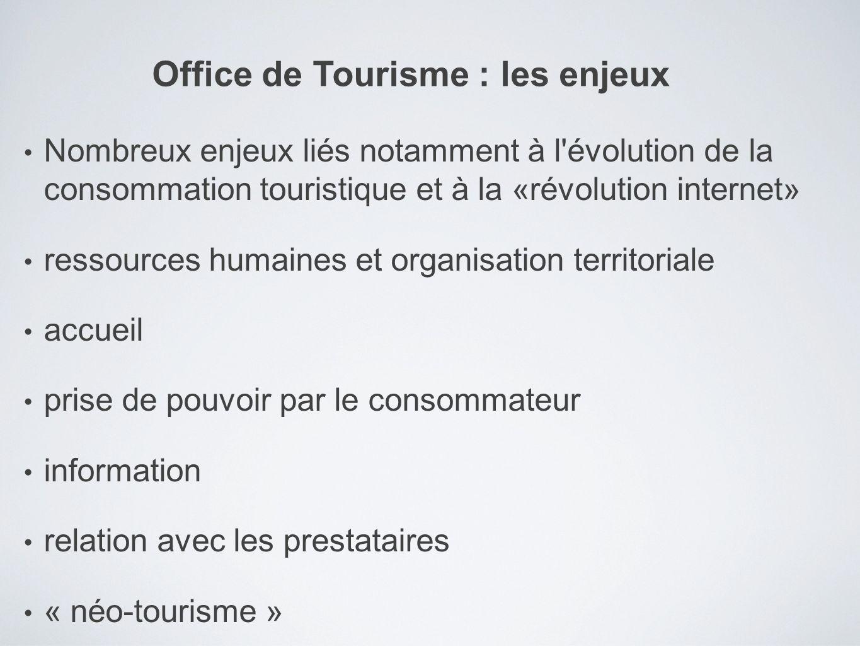 Nombreux enjeux liés notamment à l'évolution de la consommation touristique et à la «révolution internet» ressources humaines et organisation territor