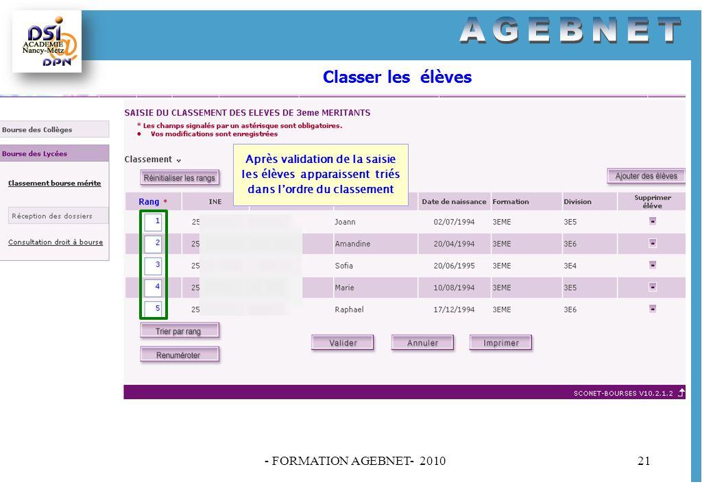 - FORMATION AGEBNET- 201021 Classer les élèves Après validation de la saisie les élèves apparaissent triés dans lordre du classement