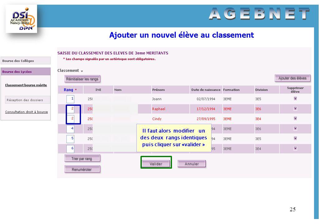 25 Ajouter un nouvel élève au classement Il faut alors modifier un des deux rangs identiques puis cliquer sur «valider »