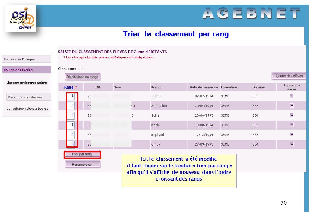 30 Trier le classement par rang Ici, le classement a été modifié il faut cliquer sur le bouton « trier par rang » afin quil saffiche de nouveau dans l