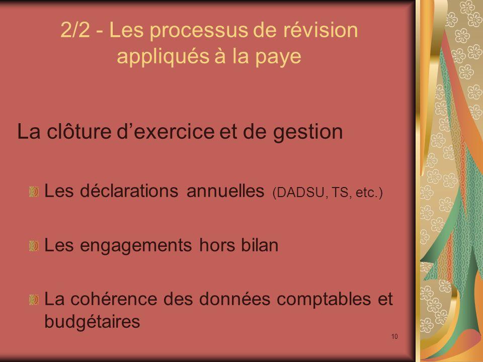 10 2/2 - Les processus de révision appliqués à la paye La clôture dexercice et de gestion Les déclarations annuelles (DADSU, TS, etc.) Les engagements