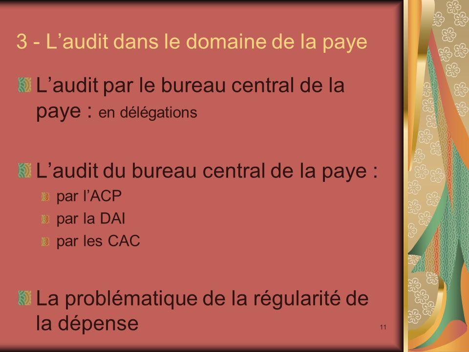 11 3 - Laudit dans le domaine de la paye Laudit par le bureau central de la paye : en délégations Laudit du bureau central de la paye : par lACP par l