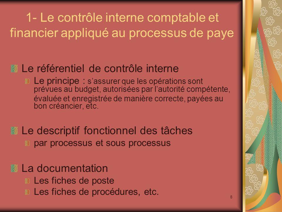 8 1- Le contrôle interne comptable et financier appliqué au processus de paye Le référentiel de contrôle interne Le principe : sassurer que les opérat