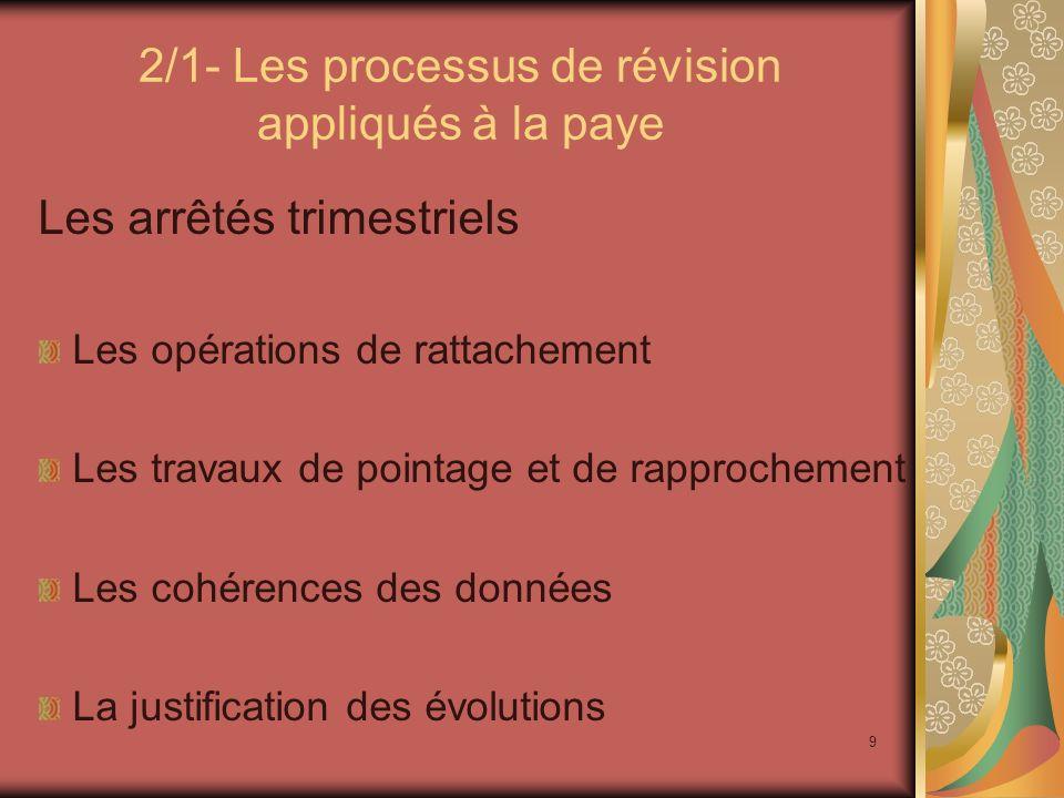 9 2/1- Les processus de révision appliqués à la paye Les arrêtés trimestriels Les opérations de rattachement Les travaux de pointage et de rapprocheme