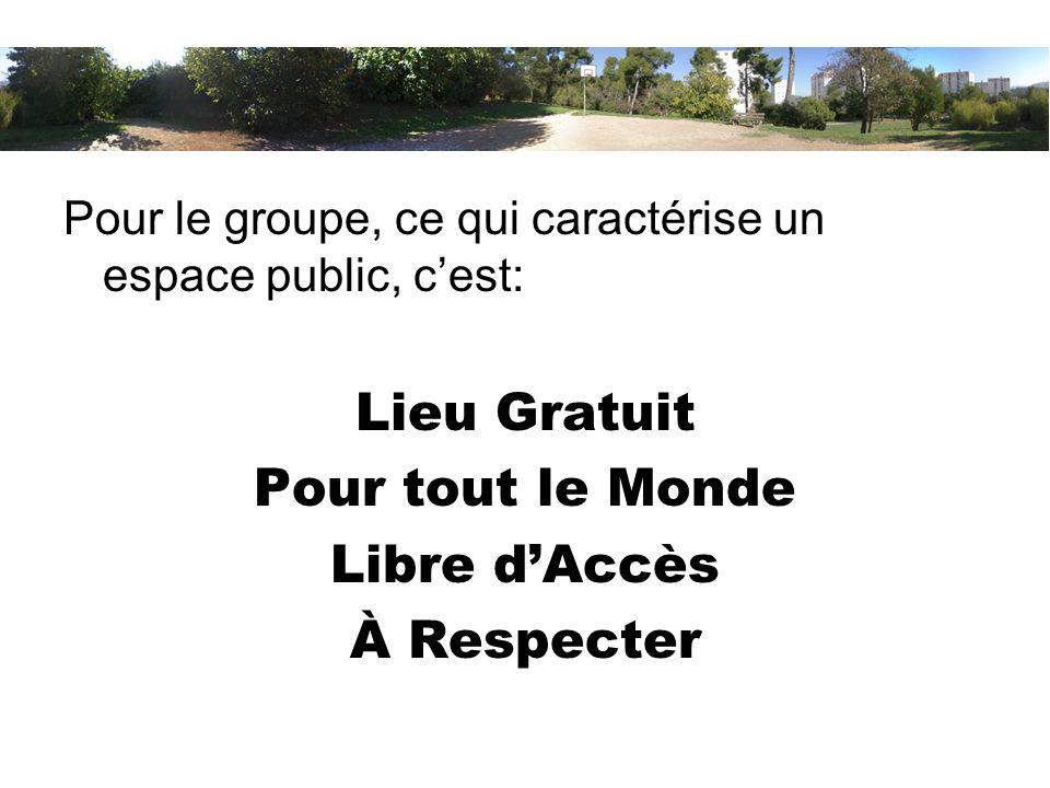 Pour le groupe, ce qui caractérise un espace public, cest: Lieu Gratuit Pour tout le Monde Libre dAccès À Respecter