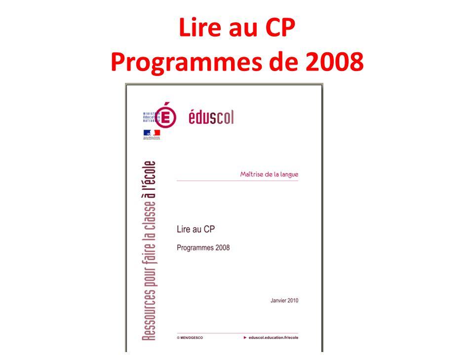 Lire au CP Programmes de 2008
