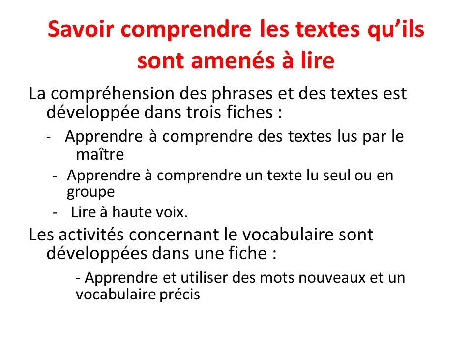 Savoir comprendre les textes quils sont amenés à lire La compréhension des phrases et des textes est développée dans trois fiches : - Apprendre à comp