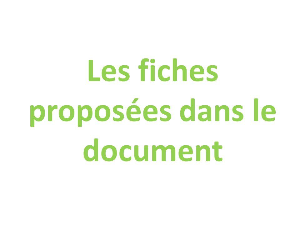 Les fiches proposées dans le document