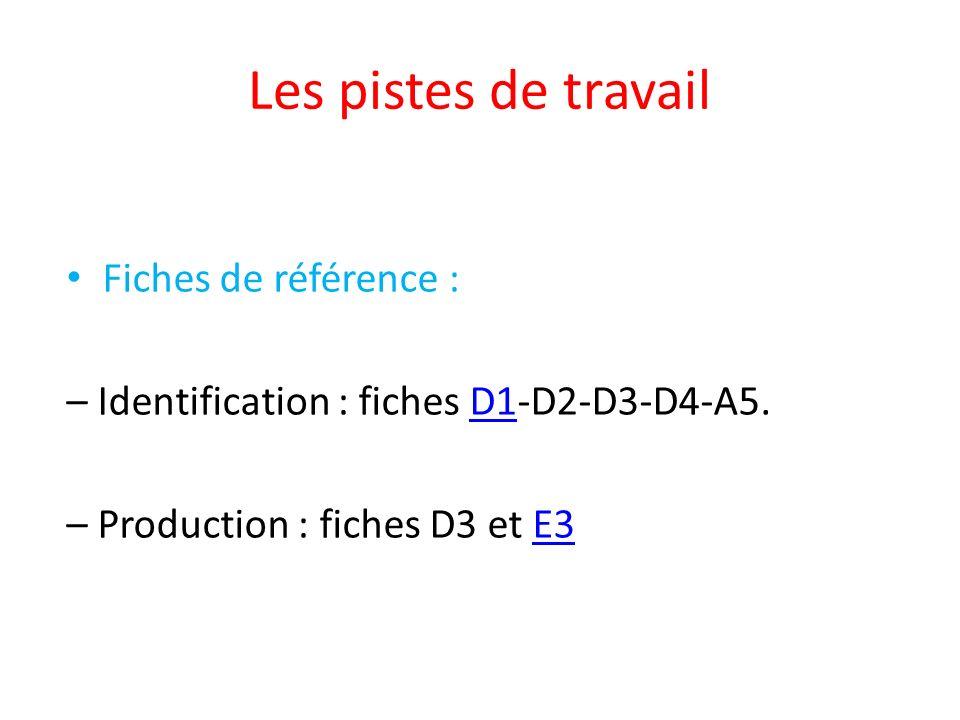 Les pistes de travail Fiches de référence : – Identification : fiches D1-D2-D3-D4-A5.D1 – Production : fiches D3 et E3E3