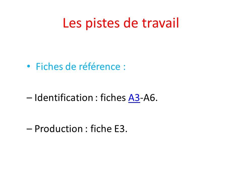 Les pistes de travail Fiches de référence : – Identification : fiches A3-A6.A3 – Production : fiche E3.