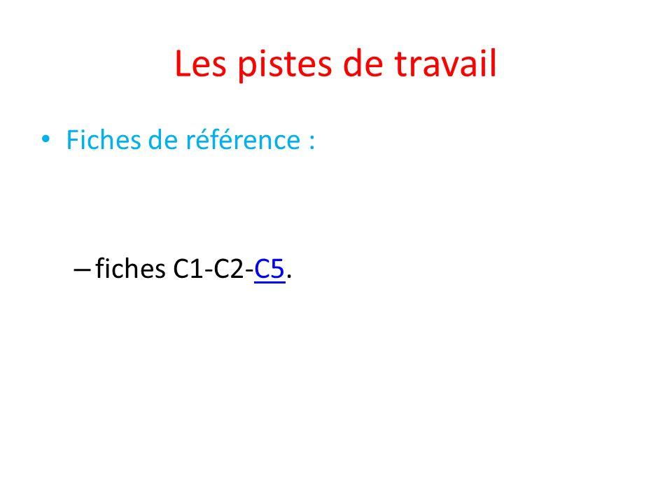 Les pistes de travail Fiches de référence : – fiches C1-C2-C5.C5