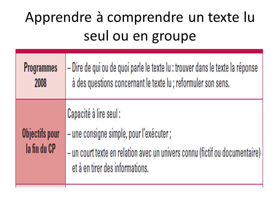 Apprendre à comprendre un texte lu seul ou en groupe