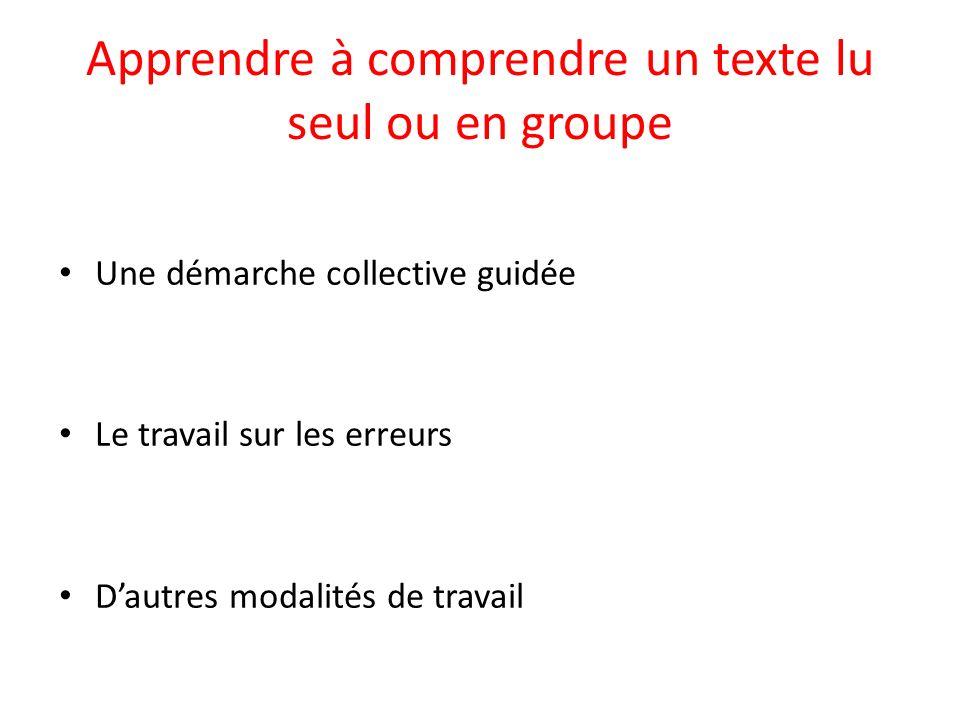 Apprendre à comprendre un texte lu seul ou en groupe Une démarche collective guidée Le travail sur les erreurs Dautres modalités de travail