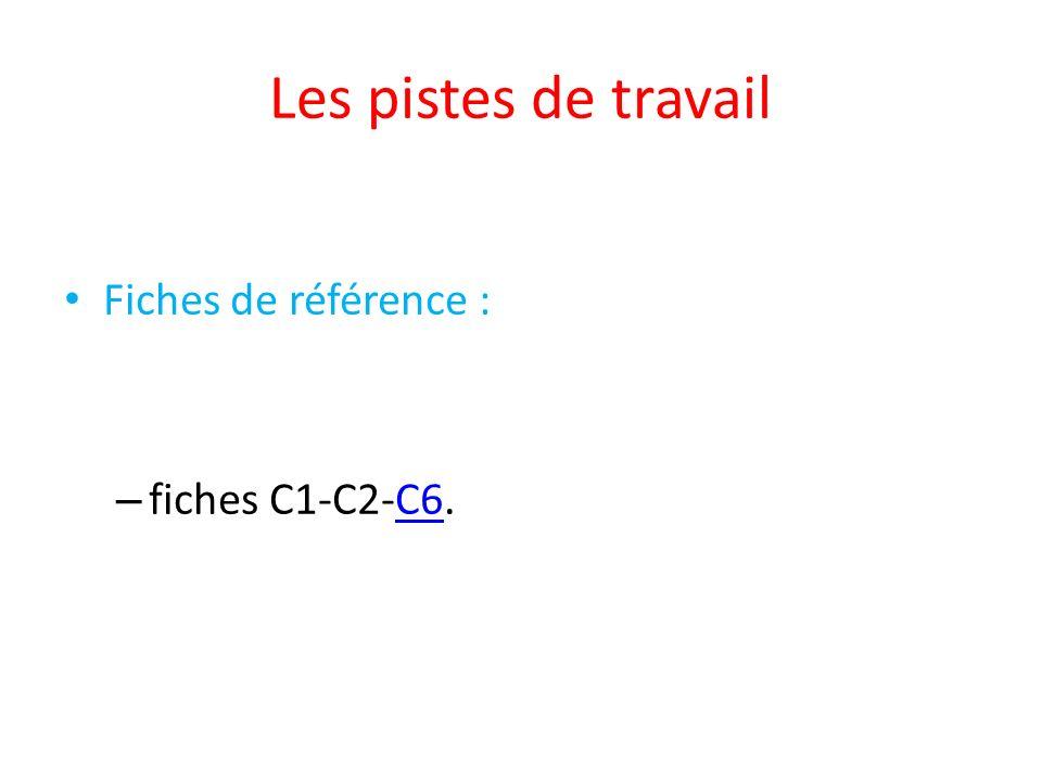Les pistes de travail Fiches de référence : – fiches C1-C2-C6.C6