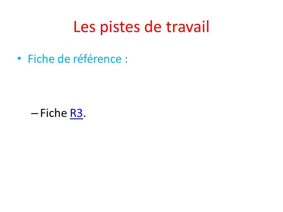Les pistes de travail Fiche de référence : – Fiche R3.R3