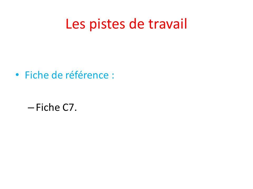 Les pistes de travail Fiche de référence : – Fiche C7.
