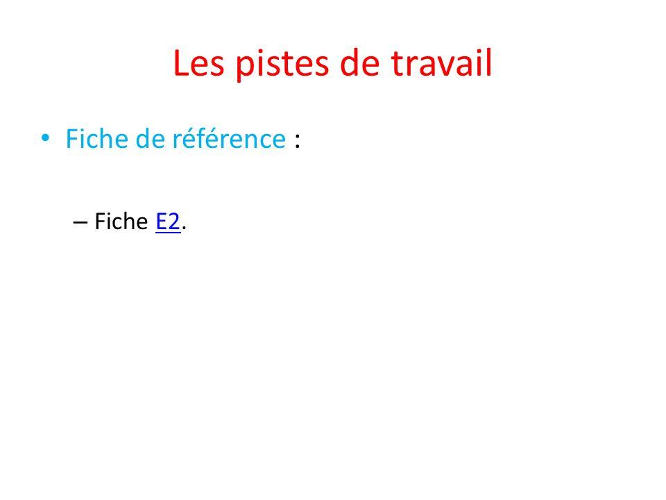 Les pistes de travail Fiche de référence : – Fiche E2.E2