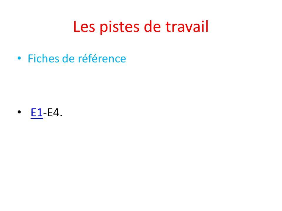 Les pistes de travail Fiches de référence E1-E4.E1