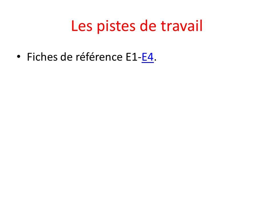 Les pistes de travail Fiches de référence E1-E4.E4