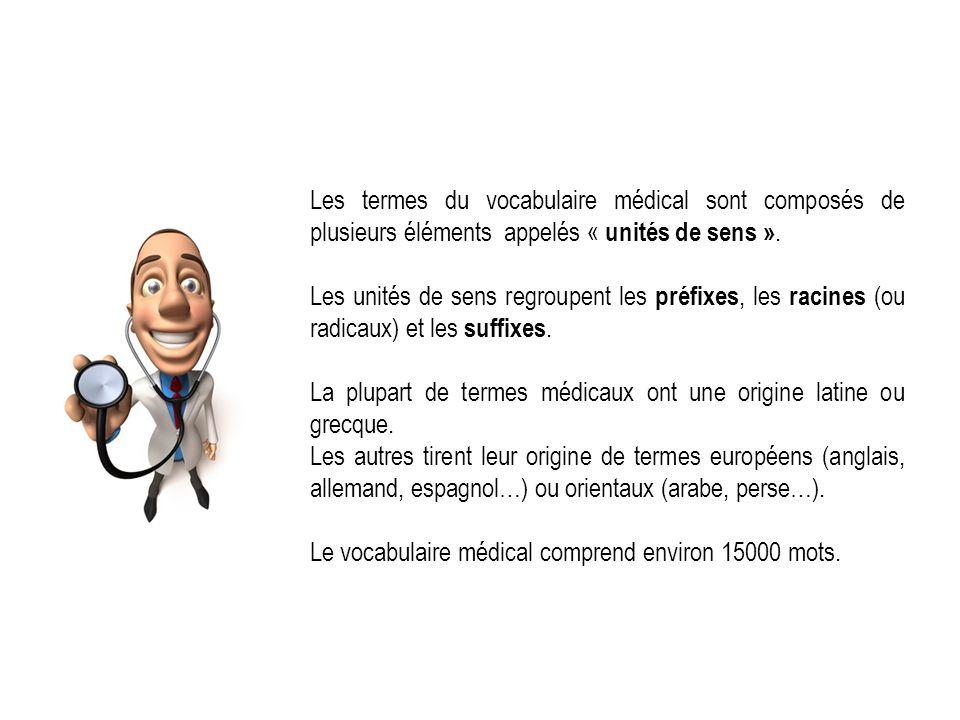 Les termes du vocabulaire médical sont composés de plusieurs éléments appelés « unités de sens ». Les unités de sens regroupent les préfixes, les raci