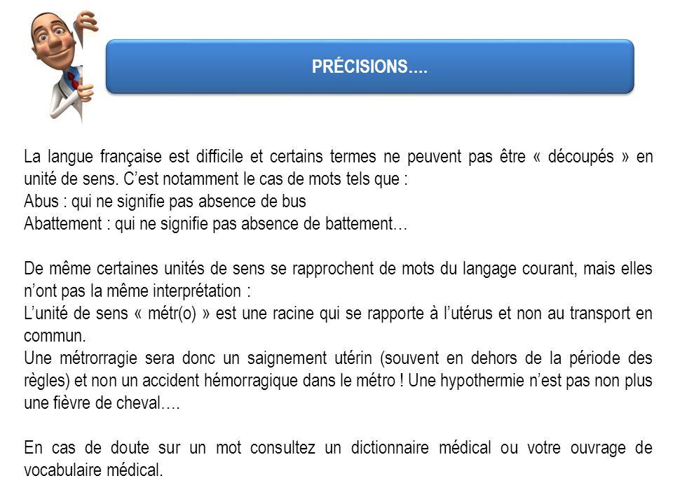 La langue française est difficile et certains termes ne peuvent pas être « découpés » en unité de sens. Cest notamment le cas de mots tels que : Abus