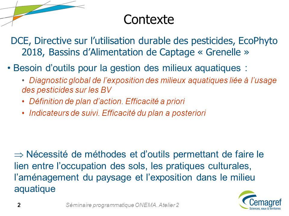 2 Séminaire programmatique ONEMA. Atelier 2 Contexte DCE, Directive sur lutilisation durable des pesticides, EcoPhyto 2018, Bassins dAlimentation de C