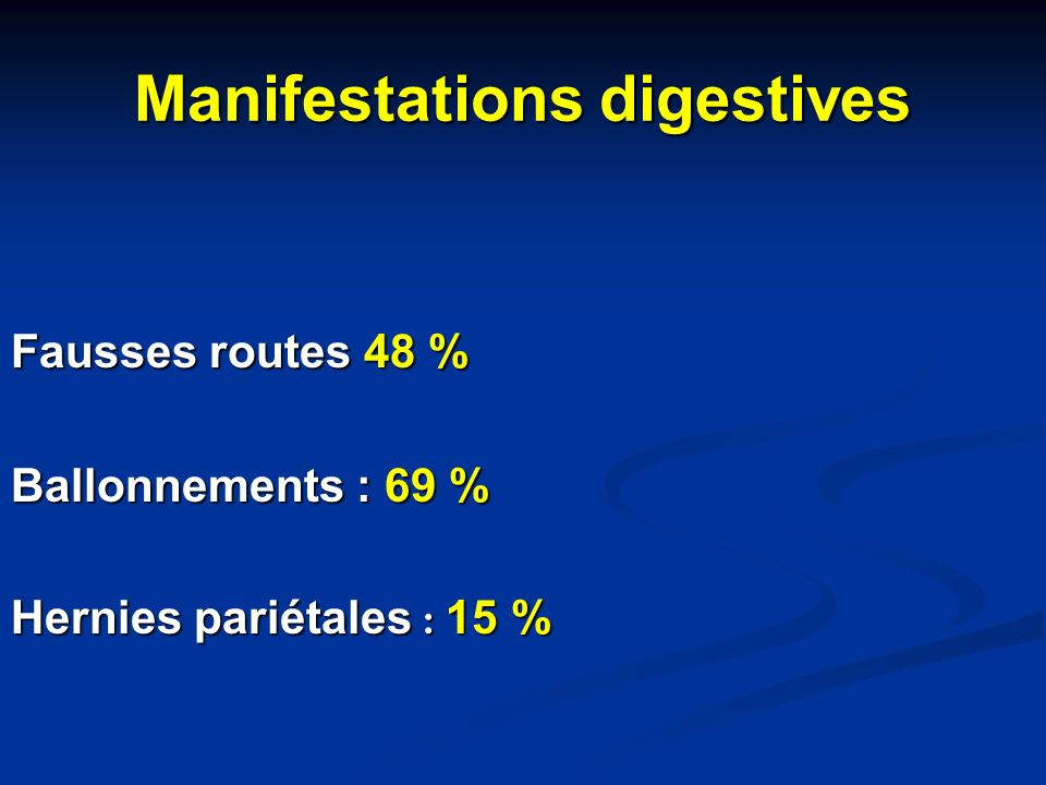 Manifestations digestives Fausses routes 48 % Ballonnements : 69 % Hernies pariétales : 15 %
