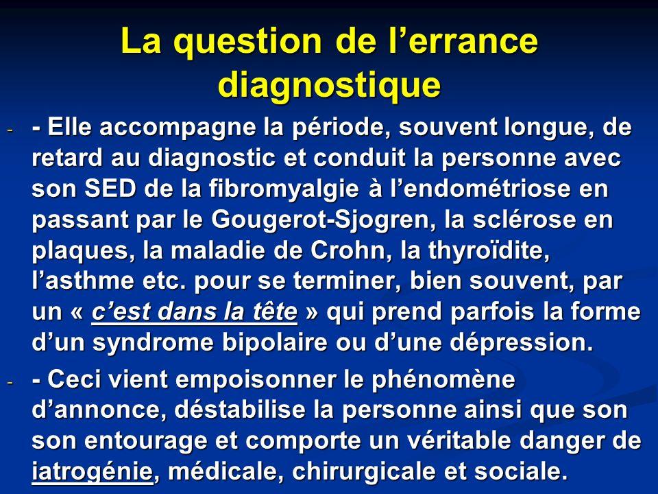 La question de lerrance diagnostique - - Elle accompagne la période, souvent longue, de retard au diagnostic et conduit la personne avec son SED de la