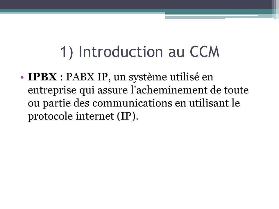 1) Introduction au CCM IPBX : PABX IP, un système utilisé en entreprise qui assure l acheminement de toute ou partie des communications en utilisant le protocole internet (IP).
