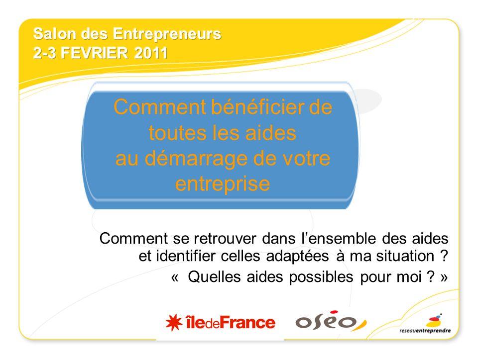 Des sites Internet importants AGENCE POUR LA CREATION DENTREPRISE www.apce.comwww.apce.com LE MINISTERE DES PME DU COMMERCE ET DE LARTISANAT www.pme-commerce-artisanat.gouv.fr Région Ile-de-France www.creersaboite.frwww.creersaboite.fr www.financersaboite.fr Centre Francilien de linnovation : www.innovation-idf.orgwww.innovation-idf.org OSEO www.oseo.frwww.oseo.fr www.capitalpme.fr SIAGI www.siagi.comwww.siagi.com LADIE – Association pour le Droit à lInitiative Economique www.adie.orgwww.adie.org FRANCE INITIATIVE www.france-initiative.frwww.france-initiative.fr RESEAU ENTREPRENDRE www.reseau-entreprendre.orgwww.reseau-entreprendre.org LES BOUTIQUES DE GESTION www.boutiques-de-gestion.comwww.boutiques-de-gestion.com FRANCE ANGELS http://www.franceangels.org/http://www.franceangels.org/