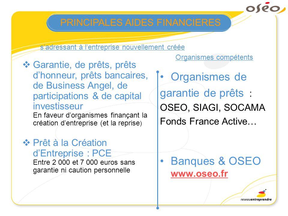 sadressant à lentreprise nouvellement créée Organismes compétents Organismes de garantie de prêts : OSEO, SIAGI, SOCAMA Fonds France Active… Banques &