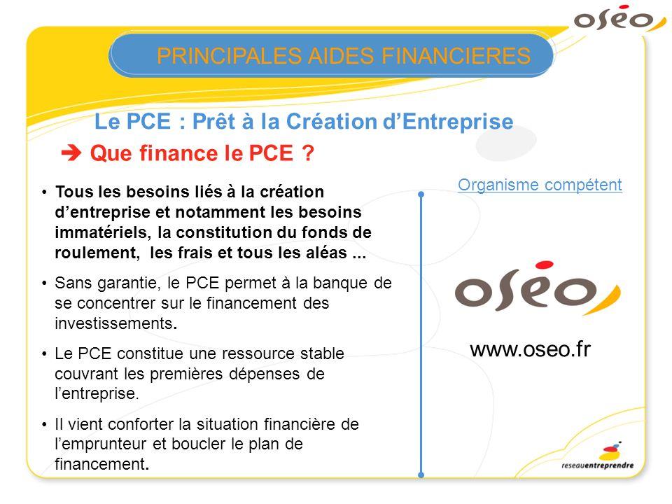 Le PCE : Prêt à la Création dEntreprise Organisme compétent Que finance le PCE ? Tous les besoins liés à la création dentreprise et notamment les beso