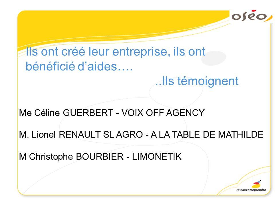 Ils ont créé leur entreprise, ils ont bénéficié daides…...Ils témoignent Me Céline GUERBERT - VOIX OFF AGENCY M. Lionel RENAULT SL AGRO - A LA TABLE D