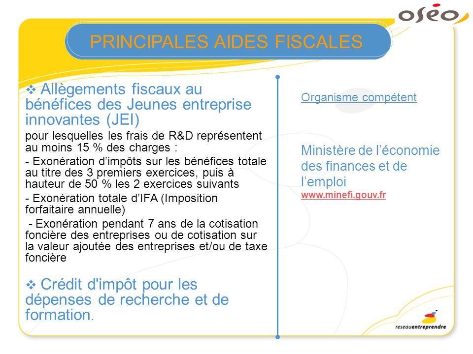 Allègements fiscaux au bénéfices des Jeunes entreprise innovantes (JEI) pour lesquelles les frais de R&D représentent au moins 15 % des charges : - Ex