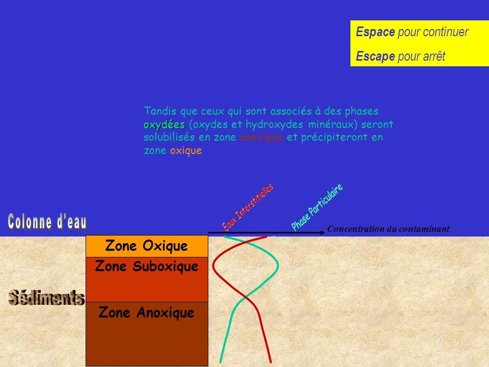 Zone Anoxique Zone Suboxique Zone Oxique réduites Les éléments associés aux phases géochimiques réduites (matière organique, sulfures..) seront solubi