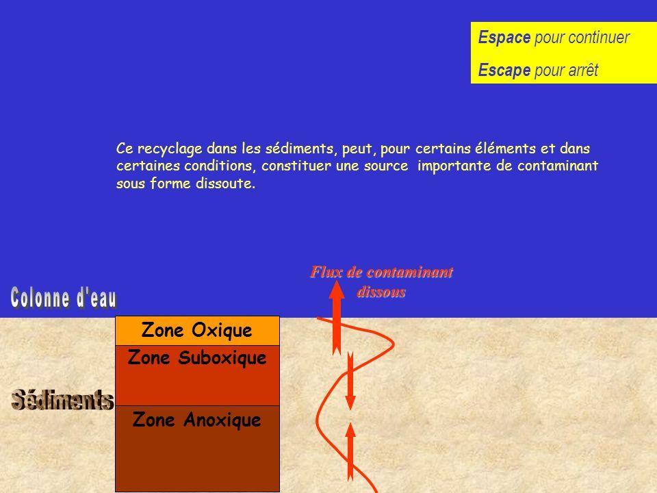 Zone Anoxique Zone Suboxique Zone Oxique Les gradients de concentrations résultants induiront des flux diffusifs Flux de contaminant dissous Ce recycl