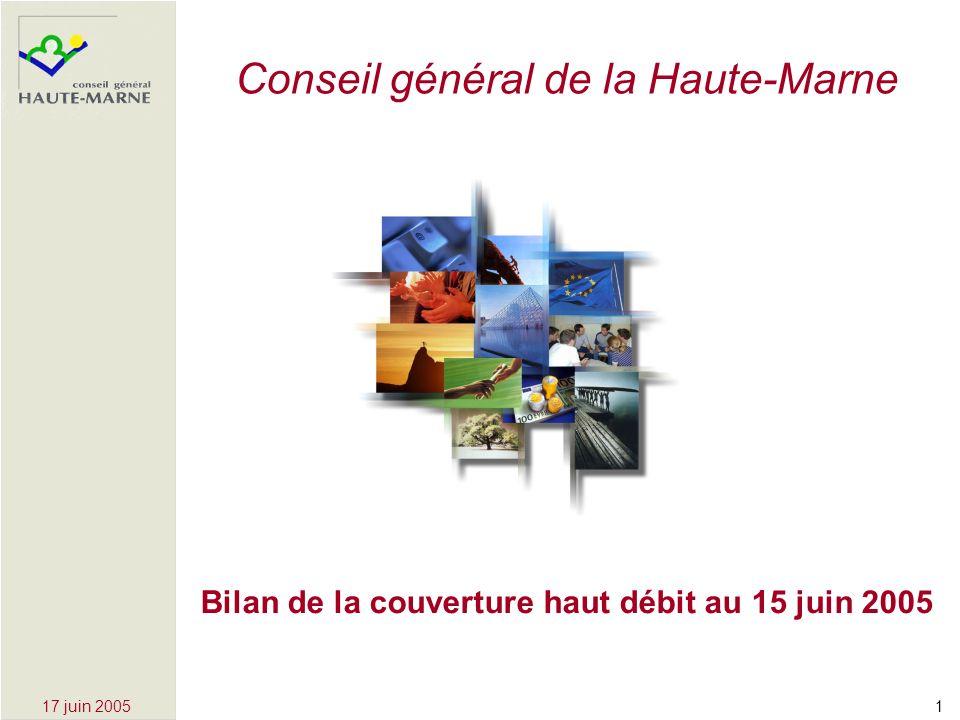 117 juin 2005 Bilan de la couverture haut débit au 15 juin 2005 Conseil général de la Haute-Marne