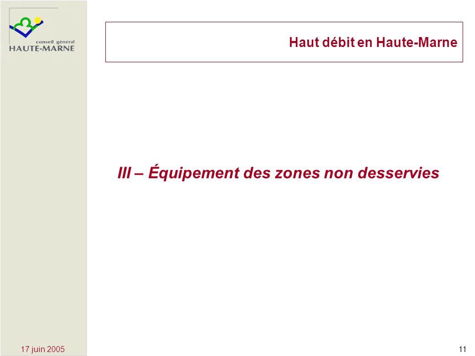 1117 juin 2005 III – Équipement des zones non desservies Haut débit en Haute-Marne