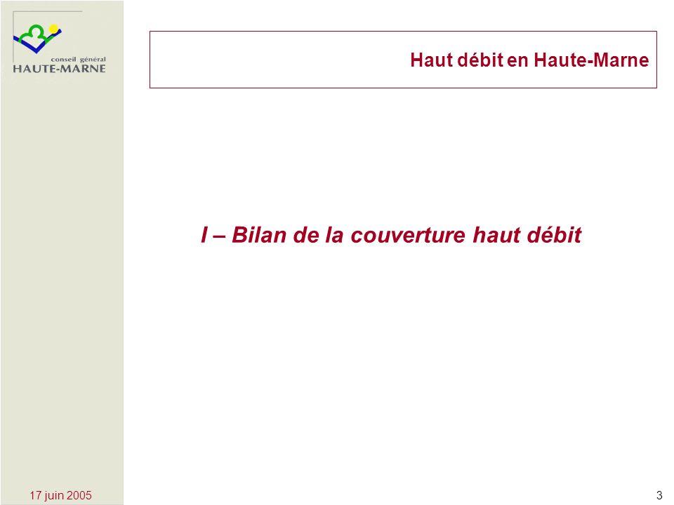 317 juin 2005 I – Bilan de la couverture haut débit Haut débit en Haute-Marne