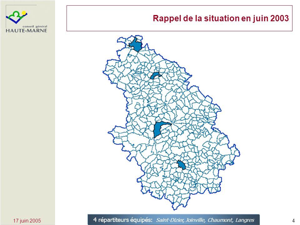 417 juin 2005 Rappel de la situation en juin 2003 4 répartiteurs équipés: Saint-Dizier, Joinville, Chaumont, Langres