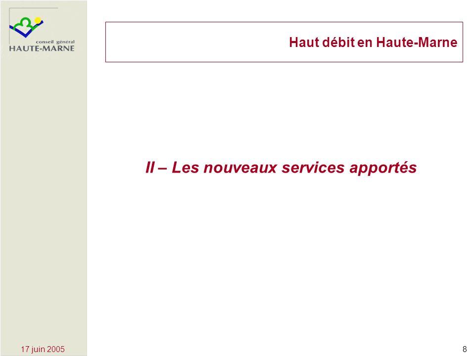 817 juin 2005 II – Les nouveaux services apportés Haut débit en Haute-Marne