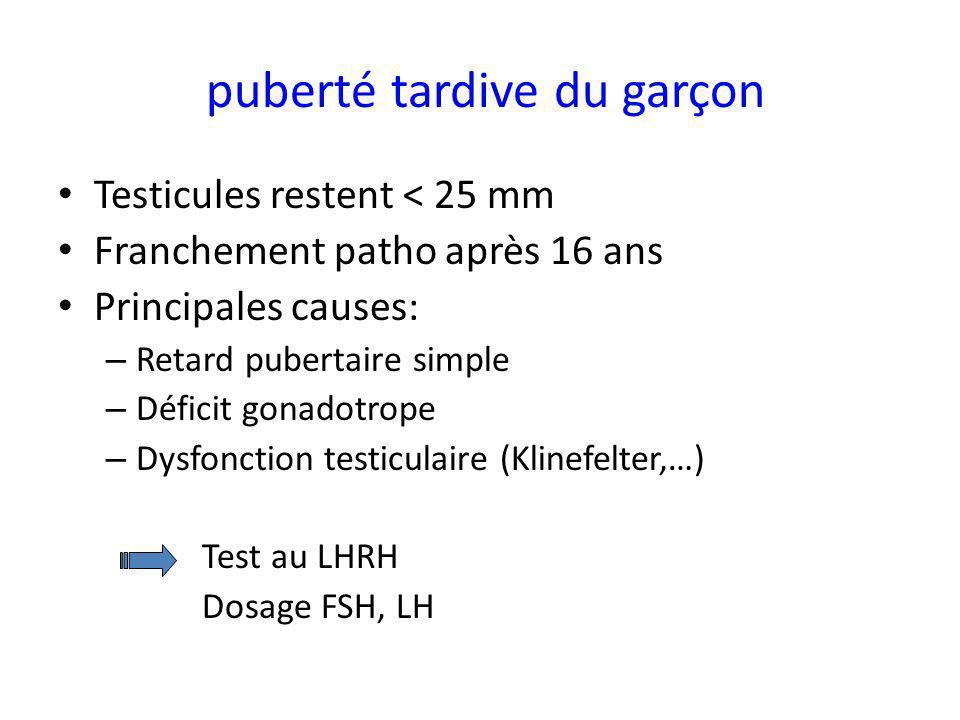 puberté tardive du garçon Testicules restent < 25 mm Franchement patho après 16 ans Principales causes: – Retard pubertaire simple – Déficit gonadotro