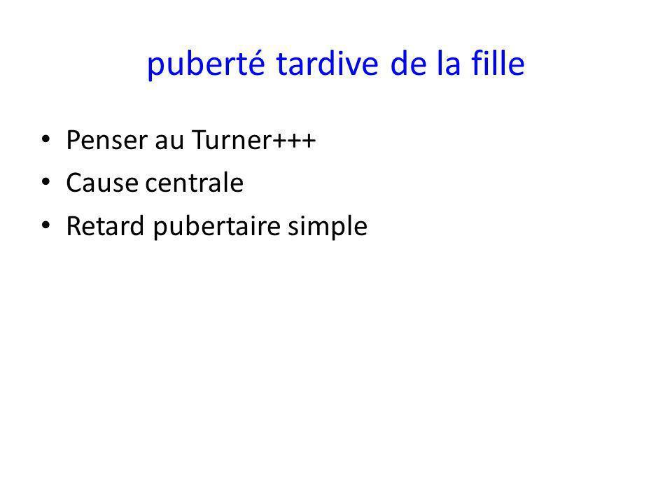 puberté tardive de la fille Penser au Turner+++ Cause centrale Retard pubertaire simple