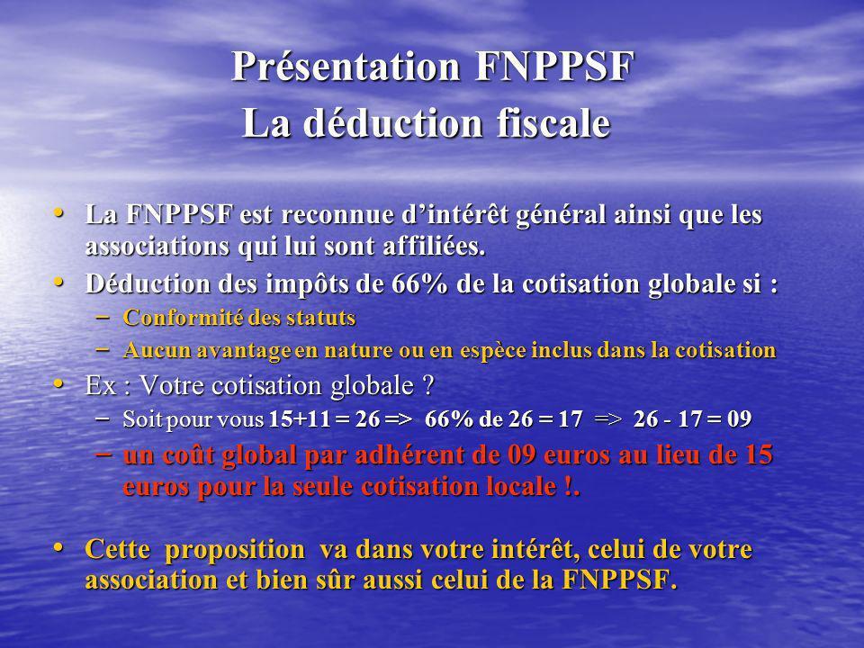 Présentation FNPPSF La déduction fiscale Présentation FNPPSF La déduction fiscale La FNPPSF est reconnue dintérêt général ainsi que les associations q