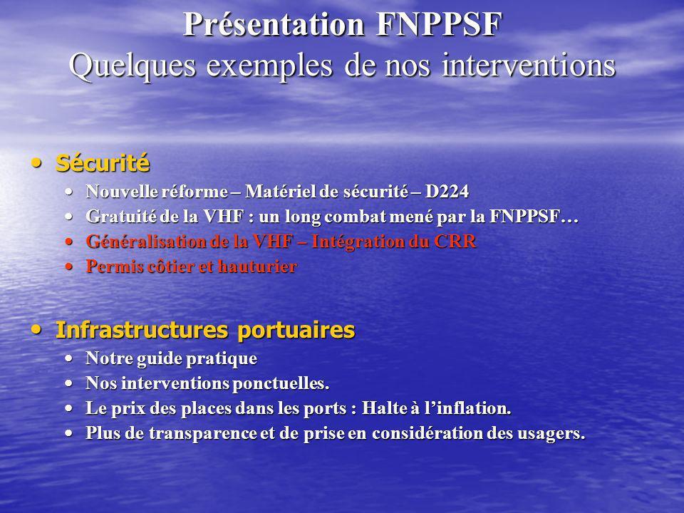 Présentation FNPPSF Quelques exemples de nos interventions Sécurité Sécurité Nouvelle réforme – Matériel de sécurité – D224 Nouvelle réforme – Matérie