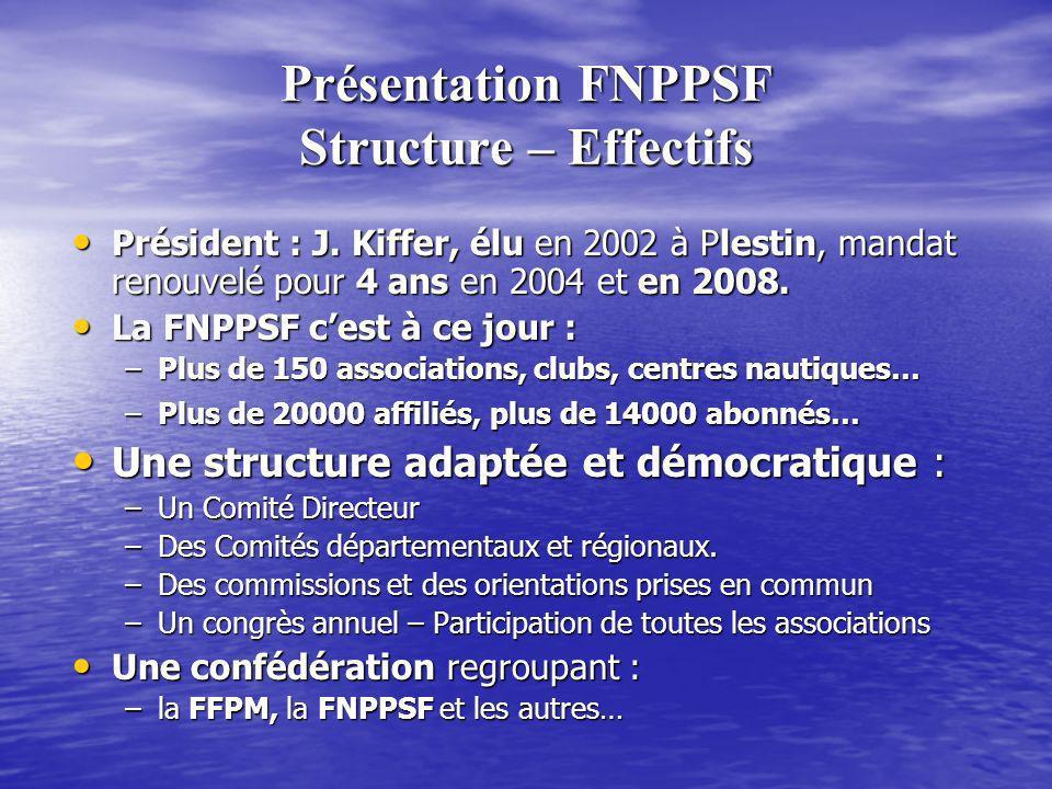 Présentation FNPPSF Structure – Effectifs Président : J. Kiffer, élu en 2002 à Plestin, mandat renouvelé pour 4 ans en 2004 et en 2008. Président : J.