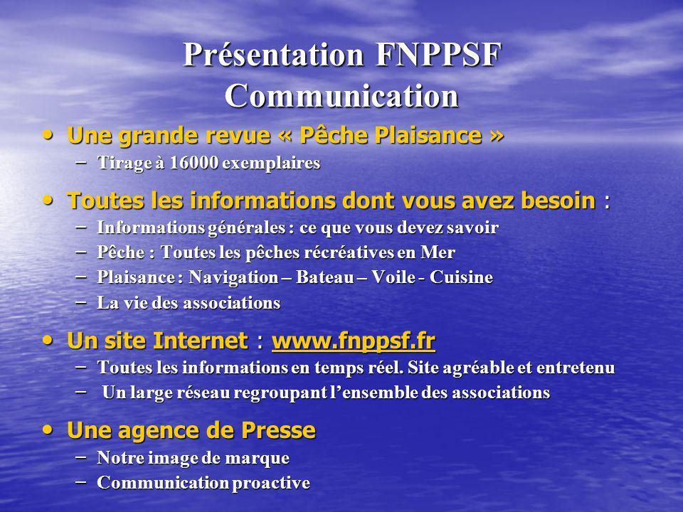 Présentation FNPPSF Communication Une grande revue « Pêche Plaisance » Une grande revue « Pêche Plaisance » – Tirage à 16000 exemplaires Toutes les in