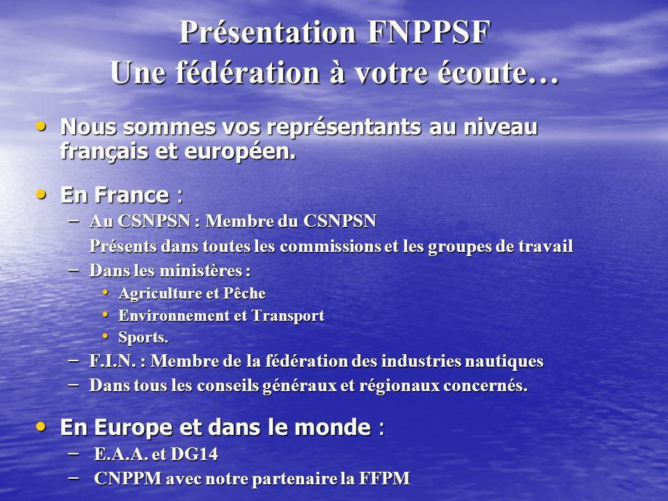 Présentation FNPPSF Une fédération à votre écoute… Nous sommes vos représentants au niveau français et européen. Nous sommes vos représentants au nive
